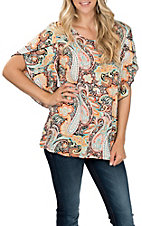 R. Rouge Women's Orange and Turquoise Paisley Print 3/4 Sleeves Fashion Top