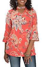 R. Rouge Women's Coral Floral Chocker Neckline Fashion Shirt