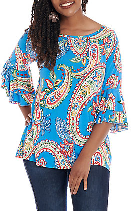 R. Rouge Women's Blue Multi Paisley Bell Sleeve Fashion Top