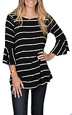 R. Rouge Women's Black with White Stripes 3/4 Bell Sleeve Fashion Top