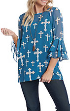 Cowgirl Hardware Women's Blue and White Cross Print 3/4 Bell Sleeve Fashion Shirt
