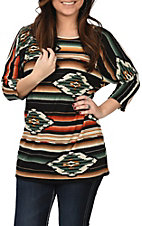 R. Rouge Women's Green and Black Aztec Print Fashion Shirt
