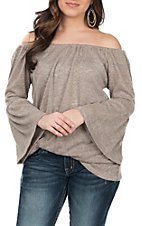 R. Rouge Women's Tan Ruffle Sleeve Fashion Top