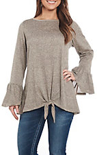 R. Rouge Women's Beige Solid Tie Front Casual Knit Tops