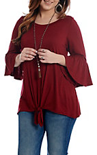 R. Rouge Women's Maroon Tie Front Long Bell Sleeve Tunic Casual Knit Shirt