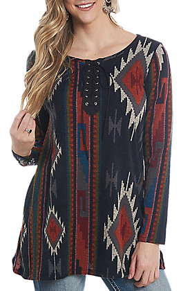 R. Rouge Women's Black Aztec Print Lace Up Fashion Shirt