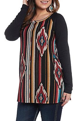 R. Rouge Women's Multicolored Aztec Print Fashion Shirt