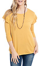 R. Rouge Women's Mustard Ruffle 3/4 Sleeve Fashion Top