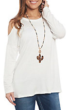 R. Rouge Women's Ivory Cold Shoulder Casual Knit Top
