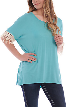 R. Rouge Women's Turquoise With Crochet Short Sleeve Fashion Top