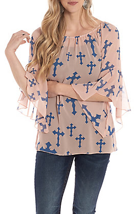 R. Rouge Women's Blush With Blue Cross Print Bell Sleeve Fashion Top
