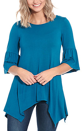 R. Rouge Women's Teal Sharkbite 3/4 Bell Sleeves Knit Fashion Top