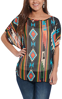 R. Rouge Women's Black Multi Aztec Sheer Short Sleeve Fashion Top