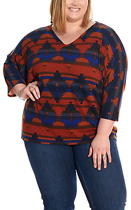 R. Rouge Women's Rust and Royal Blue Aztec Dolman Sleeve Knit Fashion Top - Plus Sizes