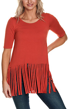 R. Rouge Women's Rust with Fringe 3/4 Sleeve Casual Knit Top