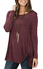 R. Rouge Women's Burgundy Washed Long Sleeve Twist Knot Casual Knit Shirt