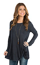 R. Rouge Women's Navy Washed Long Sleeve Twist Knot Casual Knit Shirt