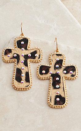 Amber's Allie Leopard Cross Earrings