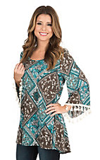 James C Women's Teal, Brown, and Cream Multi Print Long Bell Sleeve Fashion Top