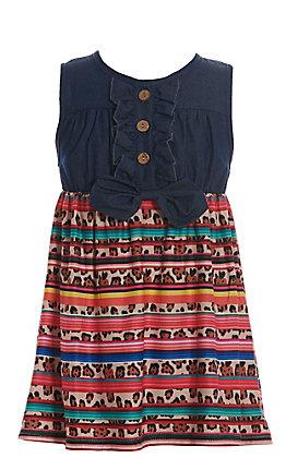 Lore Mae Girls' Denim with Leopard Serape Sleeveless Dress