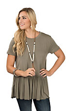 Wishlist Women's Olive Green Drop Waist Ruffle Short Sleeve Fashion Top