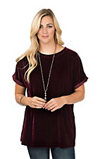 Wishlist Women's Burgundy Velvet Short Sleeve Fashion Shirt