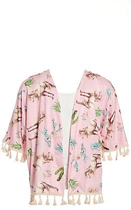 Lore Mae Girls' Pink Horse and Cactus Print Kimono