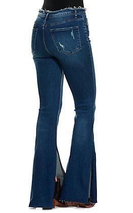 Vervet Women's Bella Medium Wash High Rise Split Leg Flare Jeans