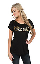 Lovely Souls Women's Black Blessed Knit Shirt