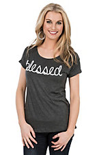 Lovely Souls Ladies Charcoal with White Blessed Screen Print Short Sleeve Casual Knit Top