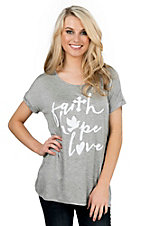 Lovely Souls Ladies Grey with Ivory Faith Hope Love Screen Print Short Sleeve Casual Knit Top