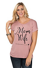 Lovely Souls Women's Mauve Mom Life Blessed Life Knit Shirt