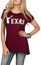Lovely Souls Women's Burgundy Texas Antlers Short Sleeve Casual Knit Shirt