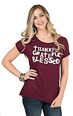 Lovely Souls Ladies Burgundy with Ivory Thankful, Grateful, Blessed Screen Print Short Sleeve Casual Knit Top