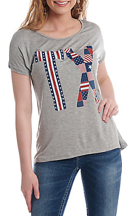 Lovely Souls Women's Grey With TX Americana Screen Print Short Sleeve Casual Knit Top