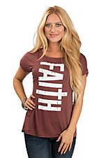 Lovely Souls Women's Maroon & Ivory Faith Casual Knit Shirt