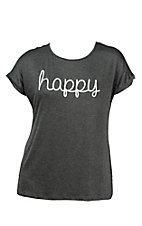Lovely Souls Ladies Charcoal with White Happy Screen Print Short Sleeve Casual Knit Top - Plus Size