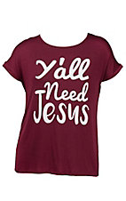 Lovely Souls Ladies Burgundy with Ivory Y'all Need Jesus Screen Print Short Sleeve Casual Knit - Plus Size