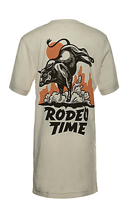 Rodeo Time Dale Brisby Men's Cream with Bull Graphic Short Sleeve T-Shirt
