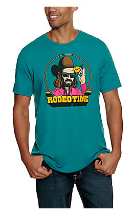 Rodeo Time Dale Brisby Men's Hat Flick Teal Logo Short Sleeve T-Shirt