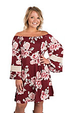James C Women's Maroon Floral Off-the-Shoulder Dress