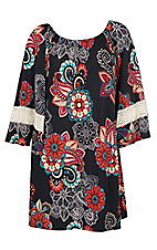 James C Women's Navy Floral & Lace Sleeve Trim Dress - Plus Size