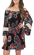 James C Women's Navy Floral & Lace Sleeve Trim Dress