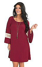 James C Women's Burgundy with Crochet 3/4 Bell Sleeve Dress