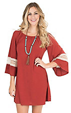 James C Women's Rust with Crochet 3/4 Bell Sleeve Dress