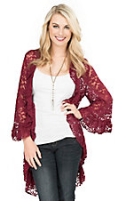 James C Women's Burgundy Lace with Ruffle Trim 3/4 Bell Sleeve Cardigan