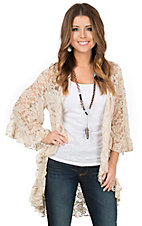 James C Women's Beige Lace with Ruffle Trim 3/4 Bell Sleeve Cardigan