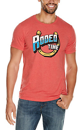 Rodeo Time Dale Brisby Men's Red Horseshoe Logo Graphic Short Sleeve T-Shirt