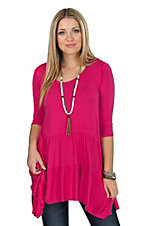 James C Women's Fushia Double Ruffle Tunic Fashion Top