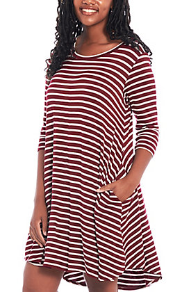 Umgee Women's Burgundy and Ivory Striped Dress